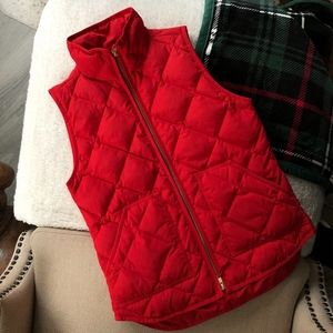 J. Crew Factory Quilted Vest XS Red